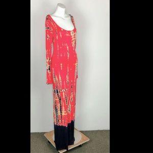 Romeo Juliet Tie Dye Long Slv Maxi Dress Pink Blue